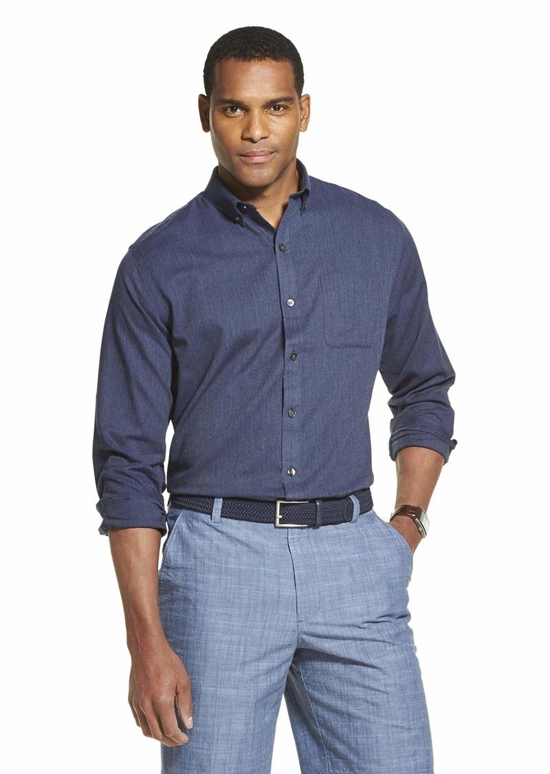Van Heusen Men's Flex Long Sleeve Button Down Stretch Solid Shirt Black IRIS