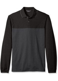 Van Heusen Men's Flex Long Sleeve Jaspe Colorblock Polo Shirt  2X-Large