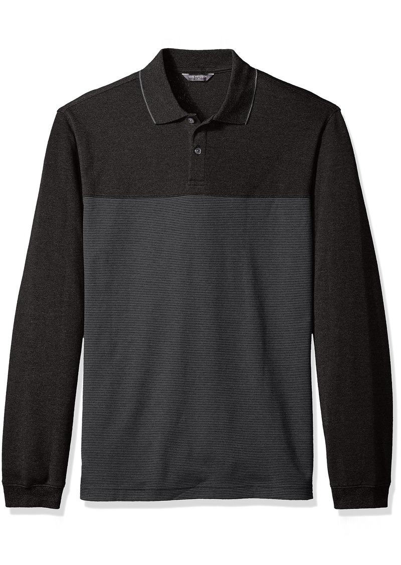 Van Heusen Men's Flex Long Sleeve Jaspe Colorblock Polo Shirt  2X-Large