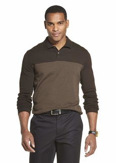 Van Heusen Men's Flex Long Sleeve Jaspe Colorblock Polo Shirt Burnt Umber