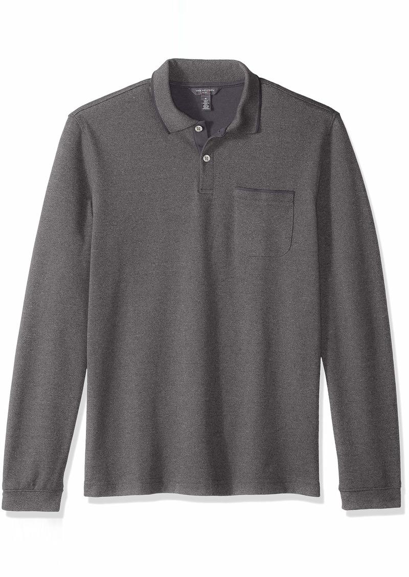 Van Heusen Men's Flex Long Sleeve Jaspe Solid Polo Shirt