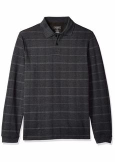 Van Heusen Men's Flex Long Sleeve Jaspe Windowpane Polo Shirt