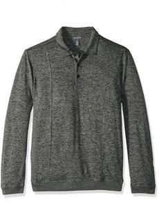 Van Heusen Men's Long Sleeve Flex Sweater Fleece Melange Polo