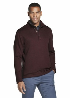 Van Heusen Men's Long Sleeve Never Tuck Jaspe Button Mock Pullover