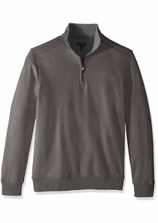 Van Heusen Men's Long Sleeve Spectator Solid 1/4 Zip Shirt grey nickel grey