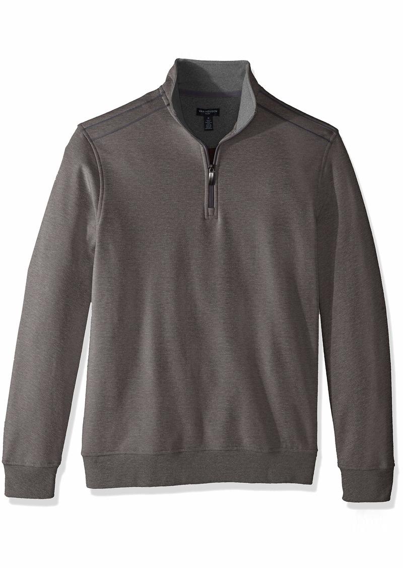 Van Heusen Men's Long Sleeve Spectator Solid 1/4 Zip Shirt grey nickel grey