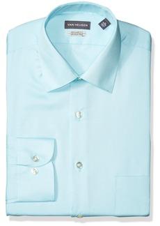 Van Heusen Men's Lux Sateen Regular Fit Solid Dress Shirt Blue Ice