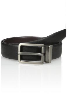 Van Heusen Men's Men's Leather Gunmetal Reversible Belt black