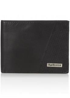 Van Heusen Men's Men's Leather Passcase Wallet With Clear Id Flip Window black