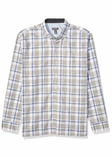 Van Heusen Men's Never Tuck Long Sleeve Button Down Plaid Shirt MONUMENT SOLID