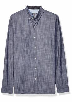 Van Heusen Men's Never Tuck Long Sleeve Button Down Solid Shirt Underground Blue