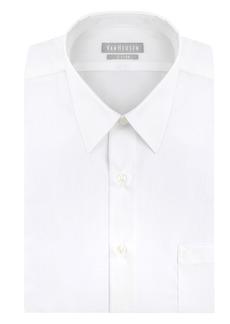 "Van Heusen Men's Poplin Fitted Solid Point Collar Dress Shirt  16.5"" Neck 34""-35"" Sleeve"