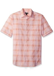 Van Heusen Men's Printed Slub Short Sleeve Shirt