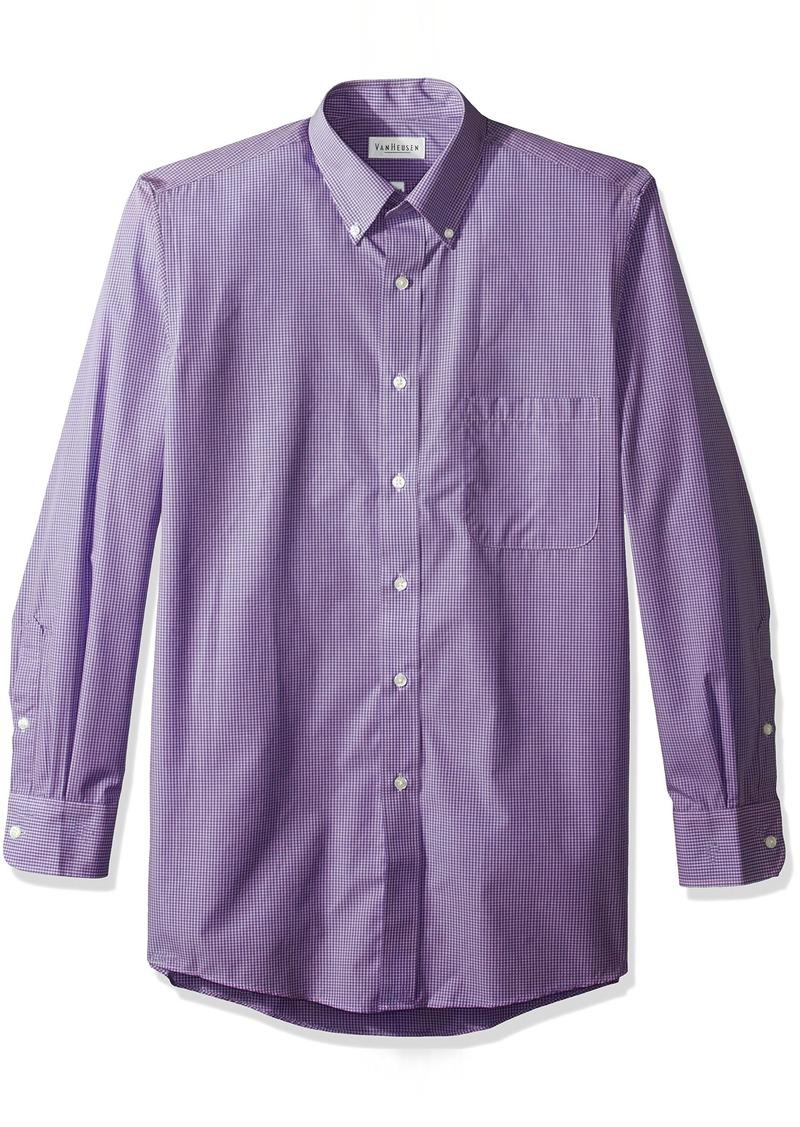Van heusen van heusen men 39 s regular fit gingham button for Dress shirt collar fit