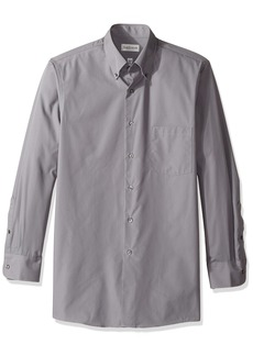 Van Heusen Men's Regular Fit Silky Poplin Button Down Collar Dress Shirt Slate