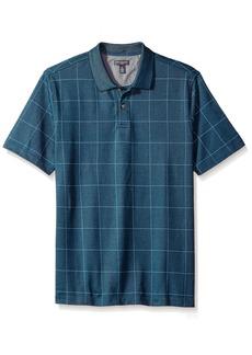 Van Heusen Men's Short Sleeve Printed Windowpane Polo Shirt