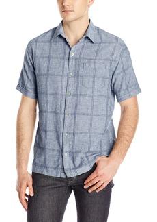 Van Heusen Men's Short Sleeve Windowpane Linen Cotton Shirt