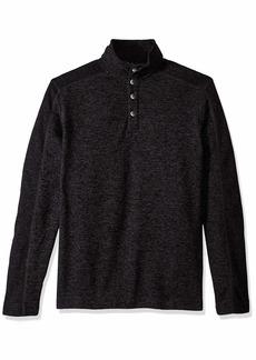 Van Heusen Men's Size Big and Tall Sweater Fleece Long Sleeve 1/4 Button Mock Neck  Large