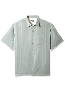 Van Heusen Men's Size Big Short Sleeve Rayon Poly Engineered Panel Shirt  Large Tall