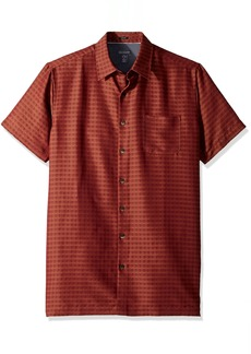 Van Heusen Men's Size Slim Fit Air Short Sleeve Button Down Poly Rayon Print Shirt  2X-Large Tall