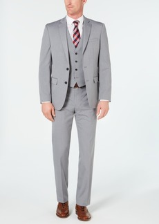 7f5082ab2b1d Van Heusen Men's Slim-Fit Flex Stretch Wrinkle-Resistant Light Gray Stripe  Vested Suit