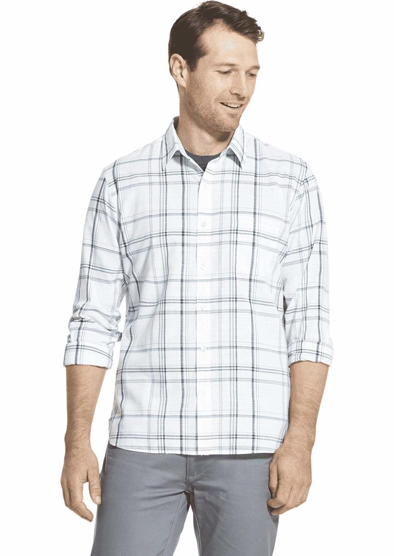Van Heusen Men's Slim Fit Never Tuck Long Sleeve Button Down Plaid Shirt