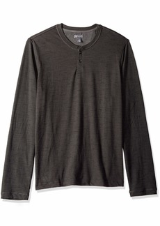 Van Heusen Men's Slim Fit Never Tuck Long Sleeve Henley Shirt black