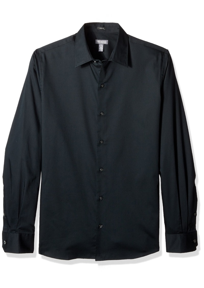 Van Heusen Men's Slim Fit Sateen Stripe Long Sleeve Button Down  Large