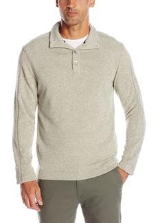 Van Heusen Men's Solid Button Mock Sweater Fleece