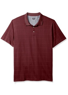 Van Heusen Men's Size Slim Fit Short Sleeve Printed Windowpane Polo Shirt  2X-Large Tall