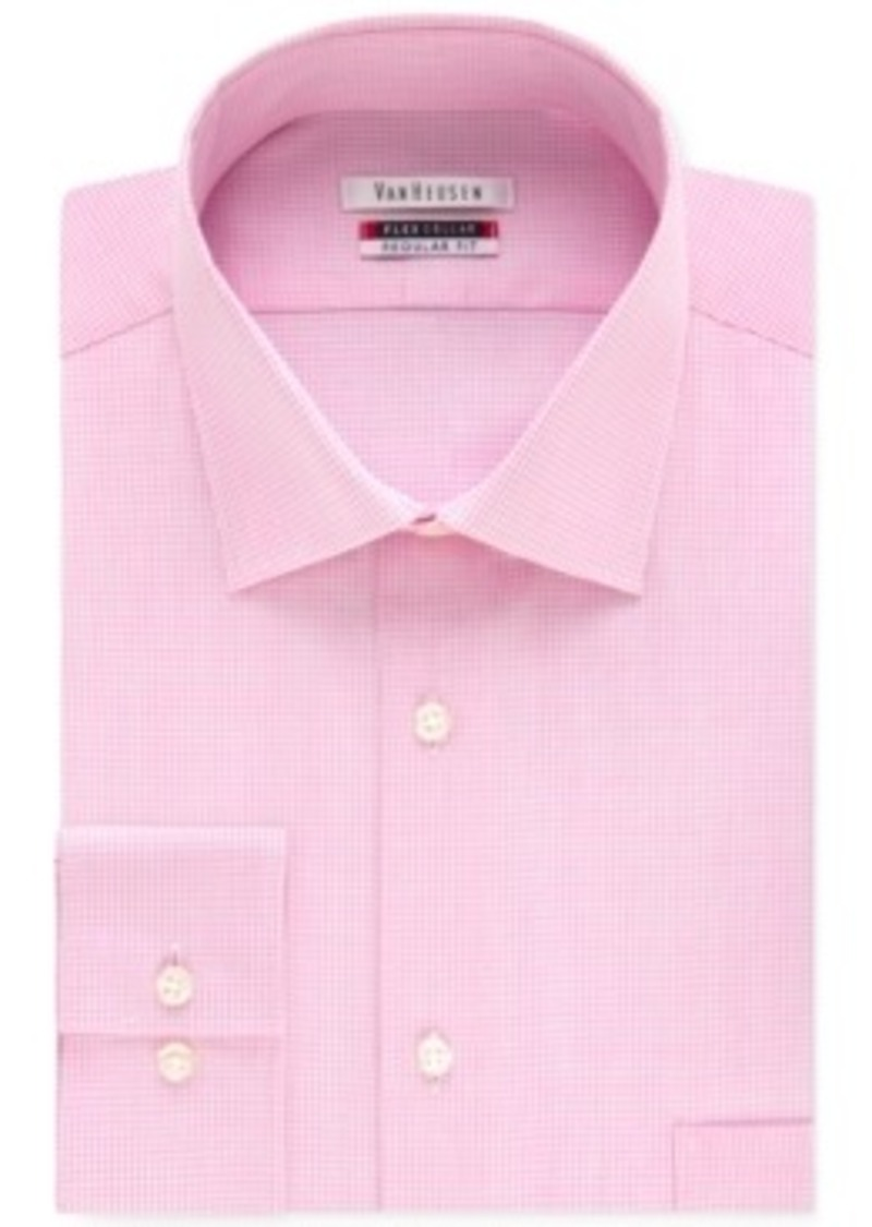Van heusen van heusen men 39 s tek fit flex collar bright for Pink checkered dress shirt
