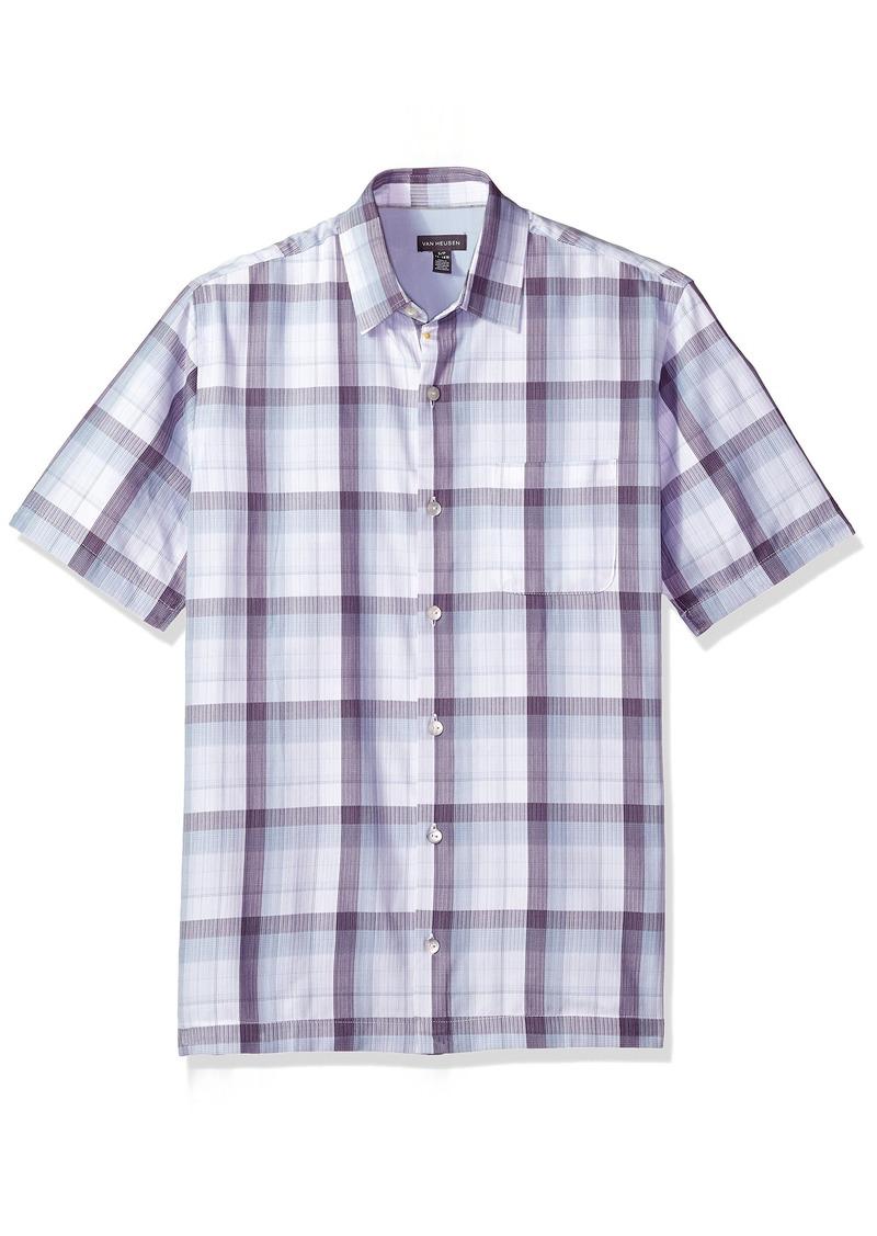 151abe779d90a Men s Textured Cotton Rayon Short Sleeve Shirt deep BlackBerry Plum. Van  Heusen