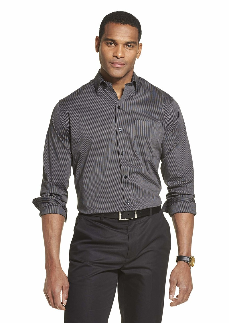 Van Heusen Men's Traveler Stretch Long Sleeve Button Down Black/Khaki/Grey Shirt Stripe