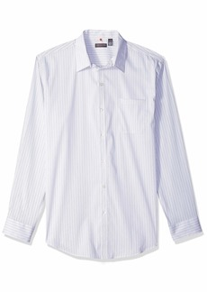 Van Heusen Men's Traveler Stretch Long Sleeve Button Down Blue/White/Purple Shirt WHT Bright Whit Legacy 2