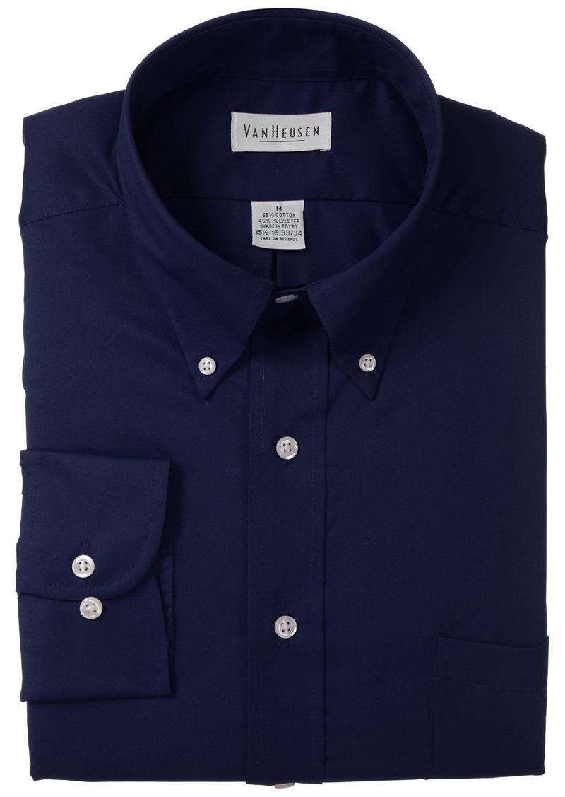 Van heusen van heusen regular fit twill solid button down for Van heusen men s regular fit pincord dress shirt