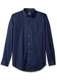 Van Heusen Men's Wrinkle Free Twill Long Sleeve Button Down Shirt Blue/Black iris