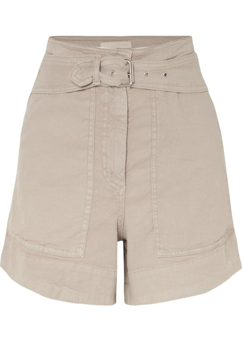 Vanessa Bruno Belted Linen-blend Shorts