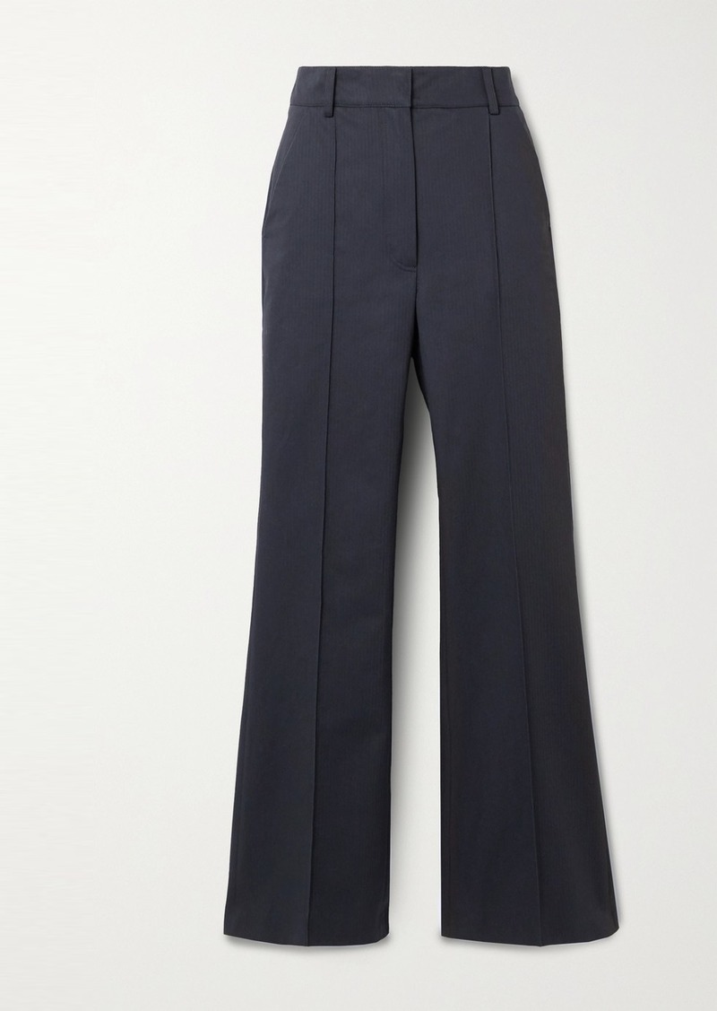 Vanessa Bruno Echalas Herringbone Cotton High-rise Bootcut Pants