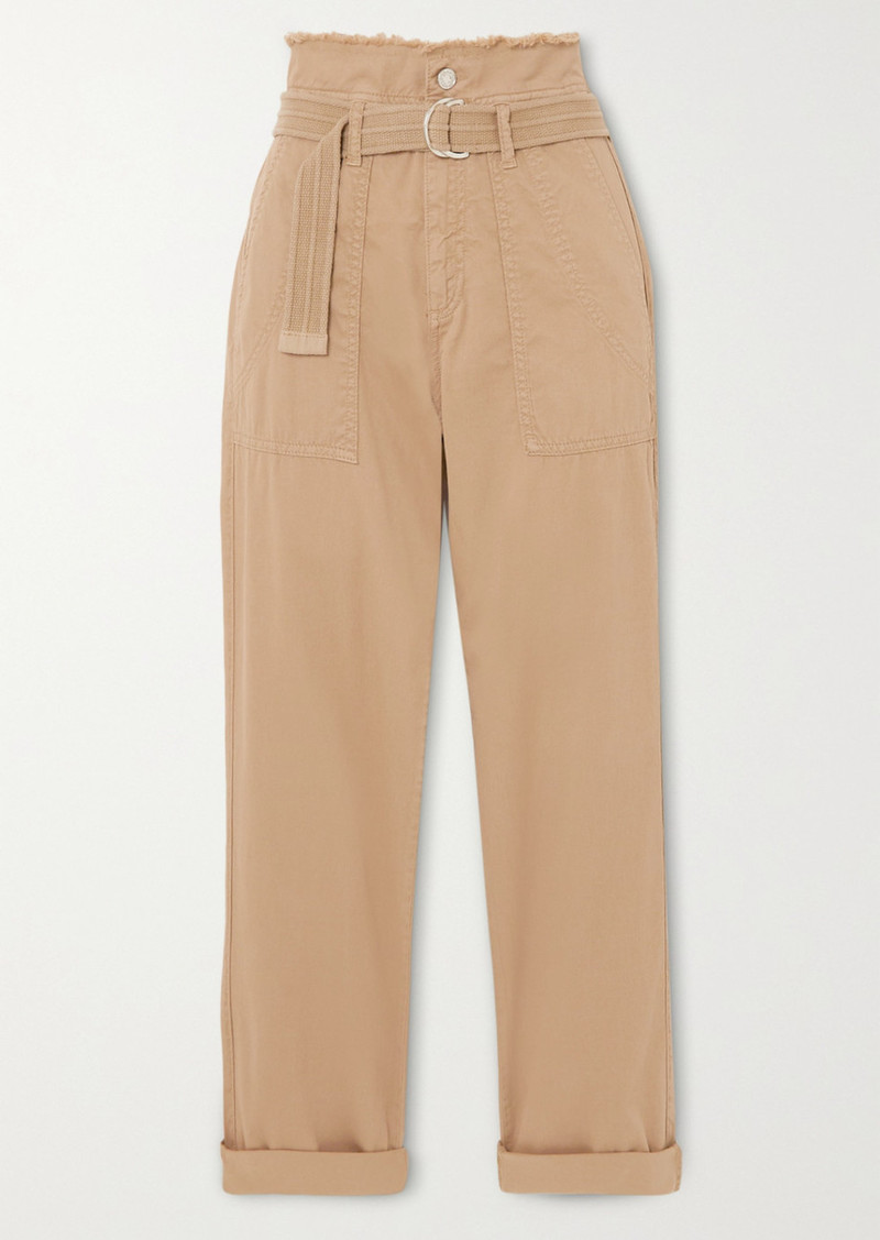 Vanessa Bruno Epagny Belted Frayed Cotton-blend Canvas Tapered Pants