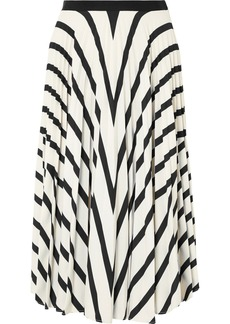 Vanessa Bruno Fadia Pleated Striped Crepe Midi Skirt