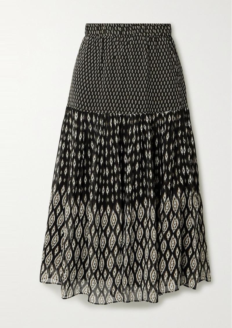 Vanessa Bruno Hernani Tiered Printed Chiffon Midi Skirt