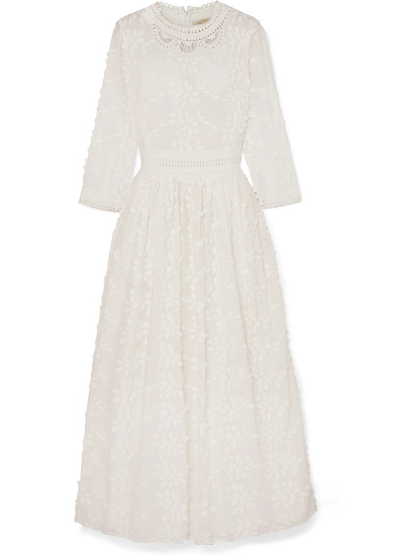 Vanessa Bruno Leia Crocheted Lace-trimmed Appliquéd Cotton-blend Maxi Dress