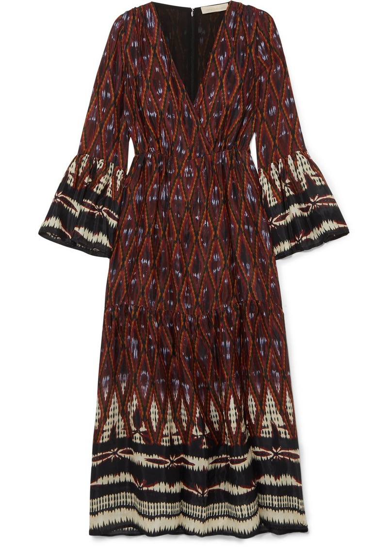 Vanessa Bruno Melissandre Tiered Printed Crepe De Chine Midi Dress