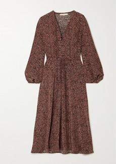 Vanessa Bruno Nathea Lace-up Floral-print Silk Crepe De Chine Midi Dress
