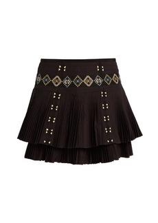 Vanessa Bruno Fabio embroidered pleated-cotton skirt