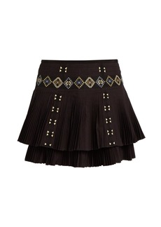 Vanessa Bruno Fabio embroidered pleated-cotton skirt