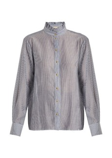 Vanessa Bruno Hemma high-neck striped cotton-blend blouse