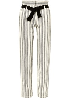 Vanessa Bruno Iwen belted striped cotton-canvas straight-leg pants