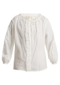 Vanessa Bruno Lace-insert cotton-blend blouse