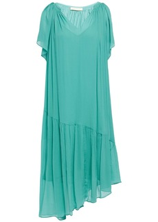 Vanessa Bruno Woman Asymmetric Gathered Silk-crepon Dress Turquoise